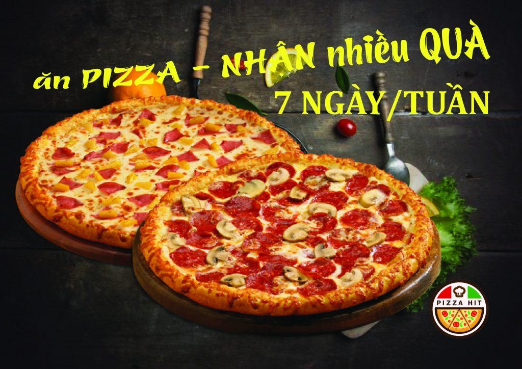 Bánh pizza nhận quà