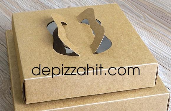Hộp pizza chất liệu giấy kraft có tay xách cách điệu